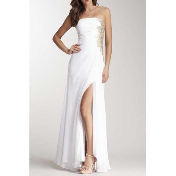 999899603f3 NWT La Femme White and Gold Prom Dress